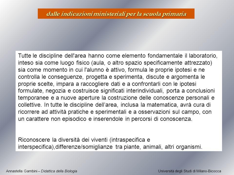 Annastella Gambini – Didattica della Biologia Università degli Studi di Milano-Bicocca Tutte le discipline dell'area hanno come elemento fondamentale