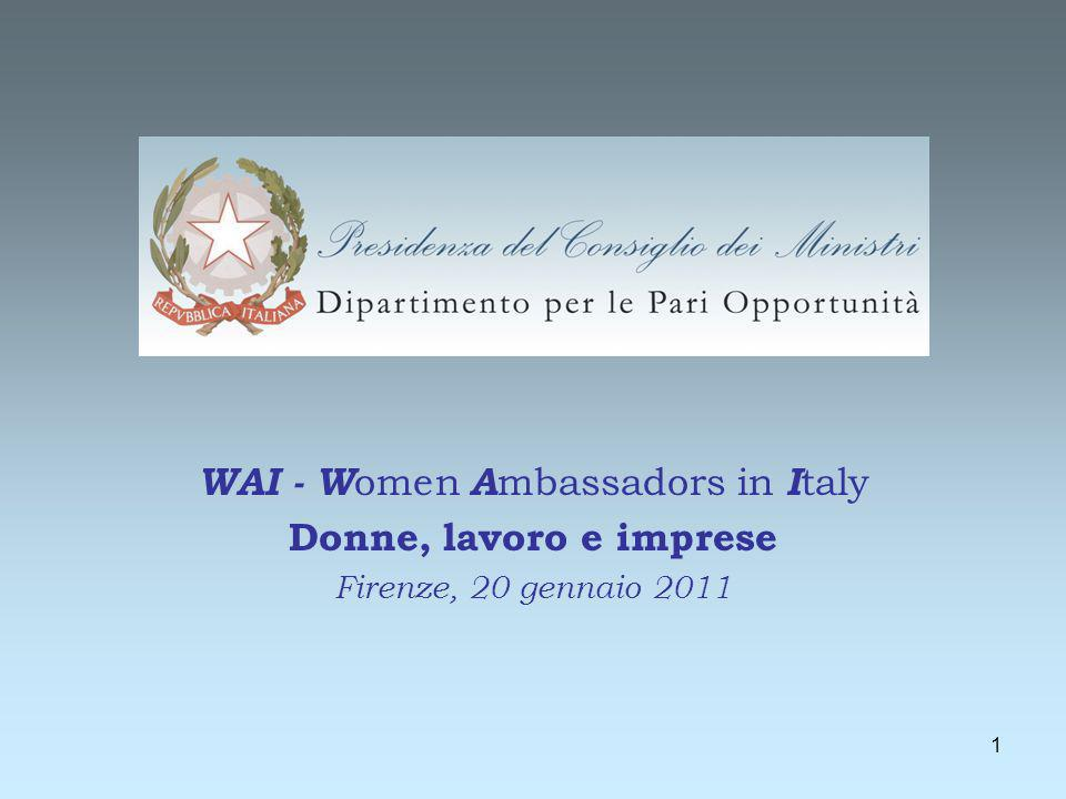 1 WAI - W omen A mbassadors in I taly Donne, lavoro e imprese Firenze, 20 gennaio 2011