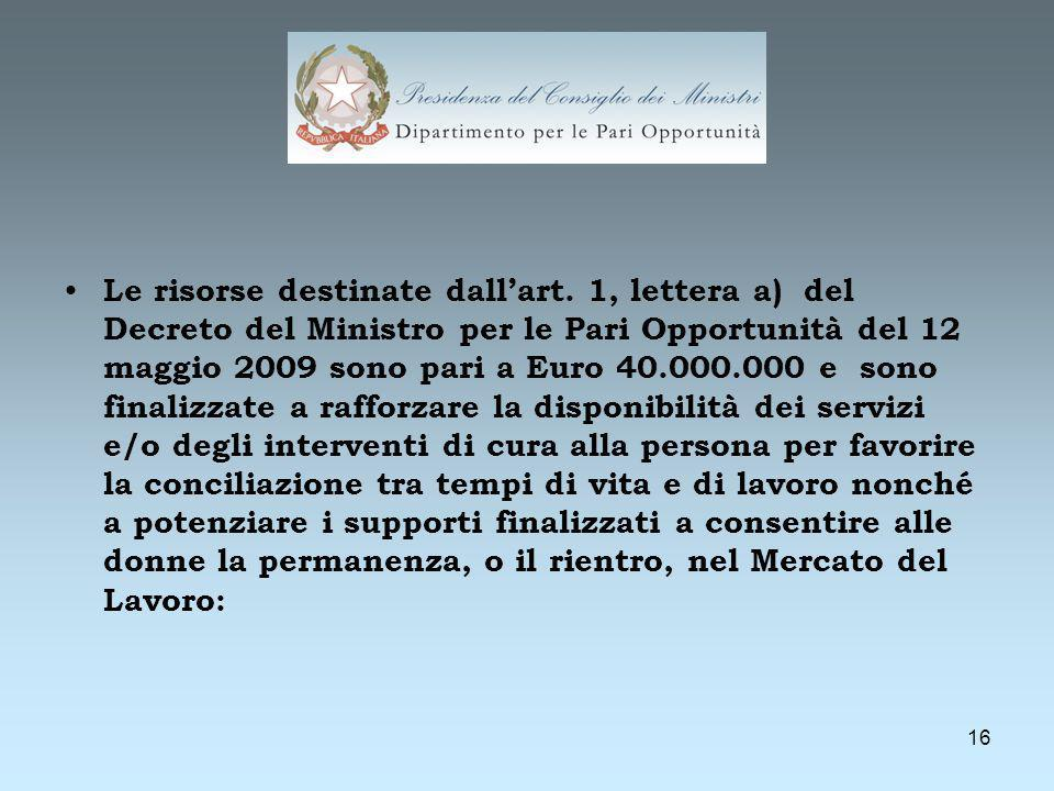 16 Le risorse destinate dallart. 1, lettera a) del Decreto del Ministro per le Pari Opportunità del 12 maggio 2009 sono pari a Euro 40.000.000 e sono
