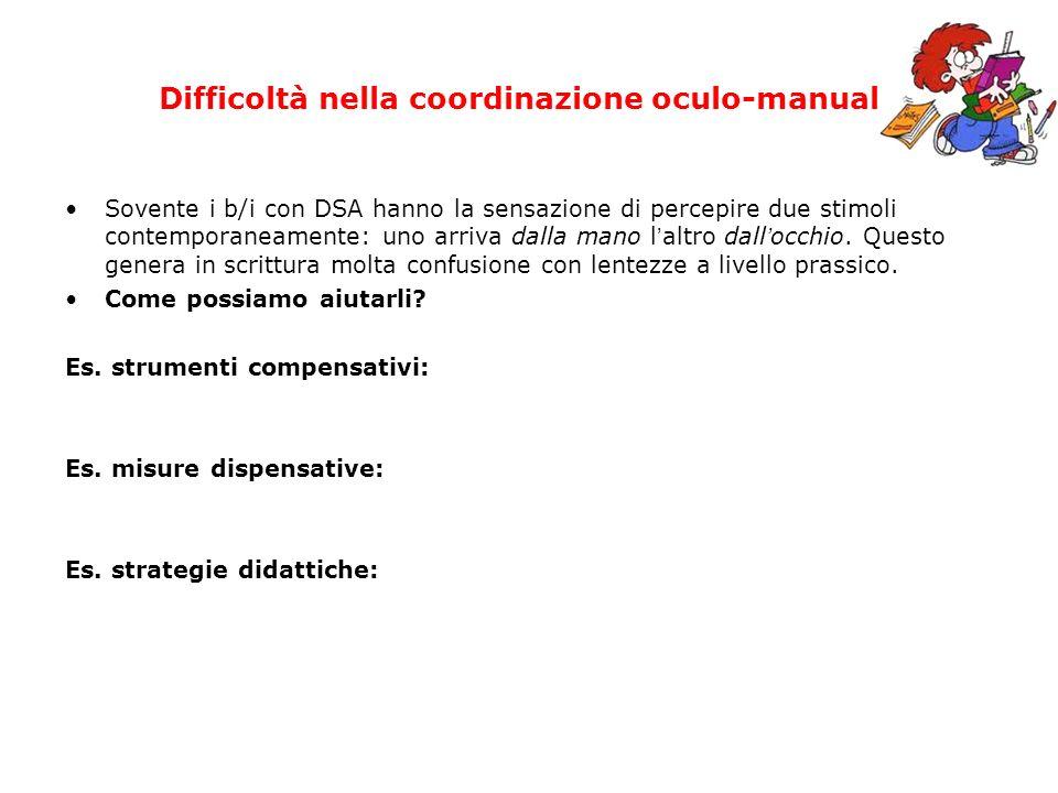 Difficoltà nella coordinazione oculo-manuale Sovente i b/i con DSA hanno la sensazione di percepire due stimoli contemporaneamente: uno arriva dalla m