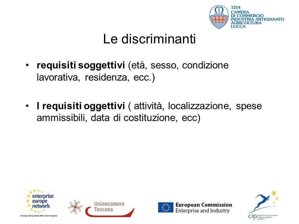 Le discriminanti requisiti soggettivi (età, sesso, condizione lavorativa, residenza, ecc.) I requisiti oggettivi ( attività, localizzazione, spese amm