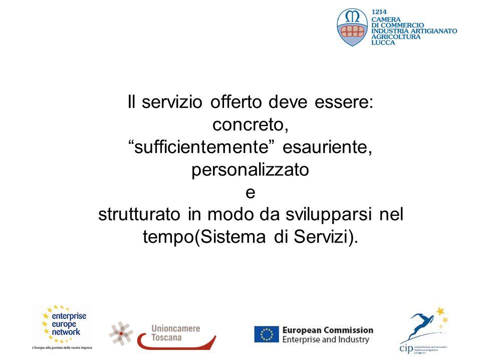 Il servizio offerto deve essere: concreto, sufficientemente esauriente, personalizzato e strutturato in modo da svilupparsi nel tempo(Sistema di Servizi).
