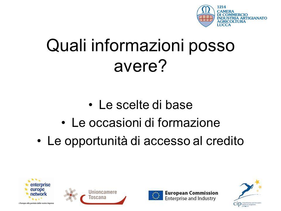 Quali informazioni posso avere? Le scelte di base Le occasioni di formazione Le opportunità di accesso al credito