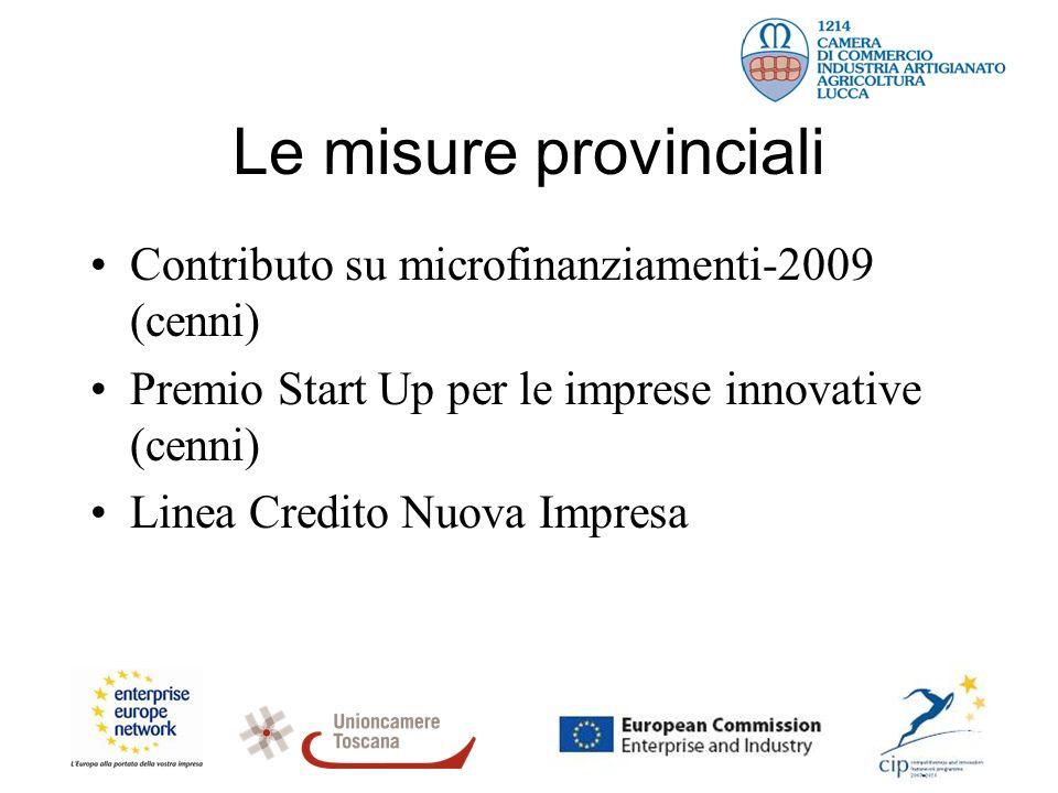 Le misure provinciali Contributo su microfinanziamenti-2009 (cenni) Premio Start Up per le imprese innovative (cenni) Linea Credito Nuova Impresa