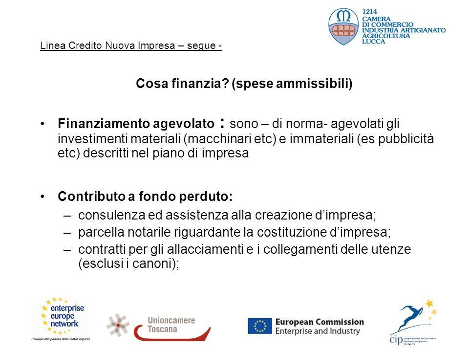 Linea Credito Nuova Impresa – segue - Cosa finanzia? (spese ammissibili) Finanziamento agevolato : sono – di norma- agevolati gli investimenti materia
