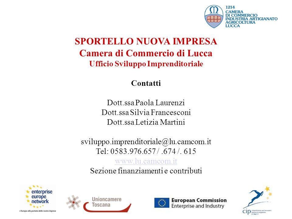 SPORTELLO NUOVA IMPRESA Camera di Commercio di Lucca Ufficio Sviluppo Imprenditoriale Contatti Dott.ssa Paola Laurenzi Dott.ssa Silvia Francesconi Dot