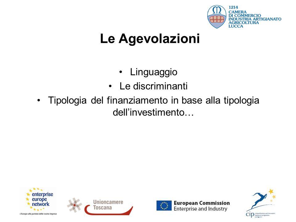 Le Agevolazioni Linguaggio Le discriminanti Tipologia del finanziamento in base alla tipologia dellinvestimento…