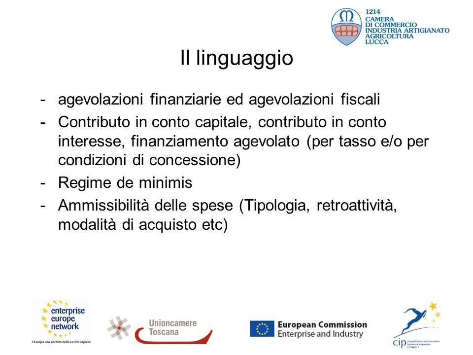 Il linguaggio -agevolazioni finanziarie ed agevolazioni fiscali -Contributo in conto capitale, contributo in conto interesse, finanziamento agevolato