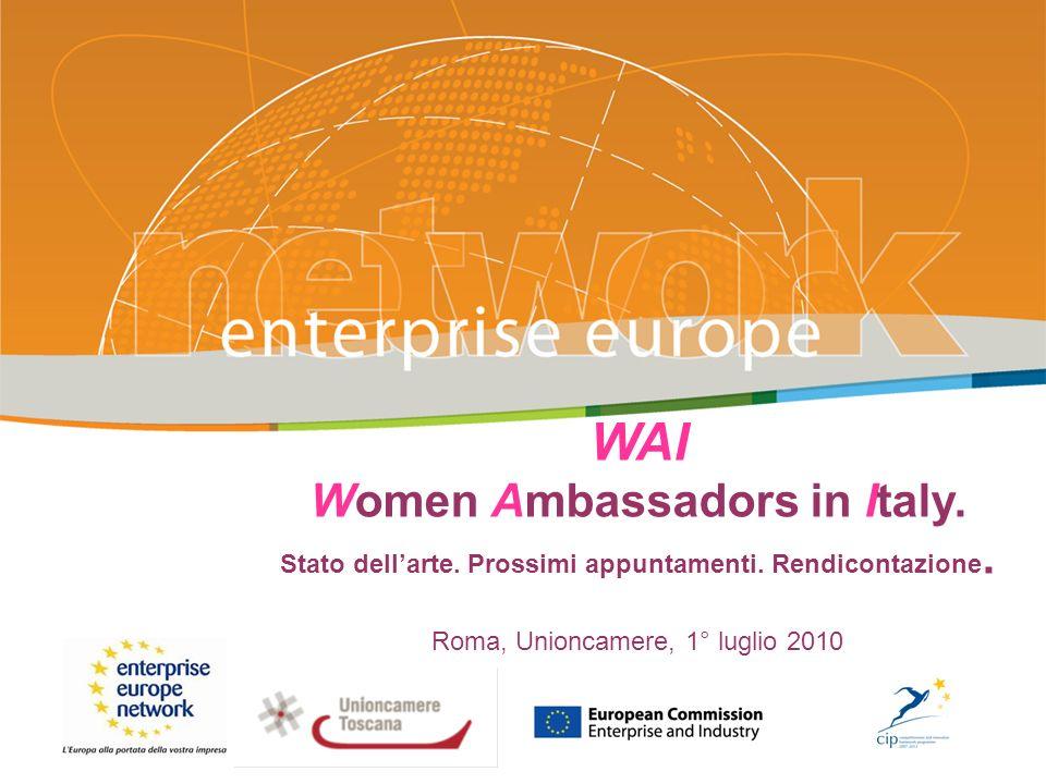 WAI Women Ambassadors in Italy. Stato dellarte. Prossimi appuntamenti. Rendicontazione. Roma, Unioncamere, 1° luglio 2010