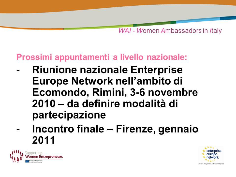 WAI - Women Ambassadors in Italy Prossimi appuntamenti a livello nazionale: -Riunione nazionale Enterprise Europe Network nellambito di Ecomondo, Rimi
