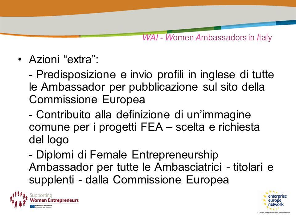 WAI - Women Ambassadors in Italy Azioni extra: - Predisposizione e invio profili in inglese di tutte le Ambassador per pubblicazione sul sito della Co