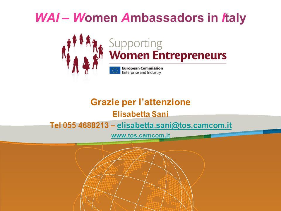 WAI – Women Ambassadors in Italy Grazie per lattenzione Elisabetta Sani Tel 055 4688213 – elisabetta.sani@tos.camcom.itelisabetta.sani@tos.camcom.it w