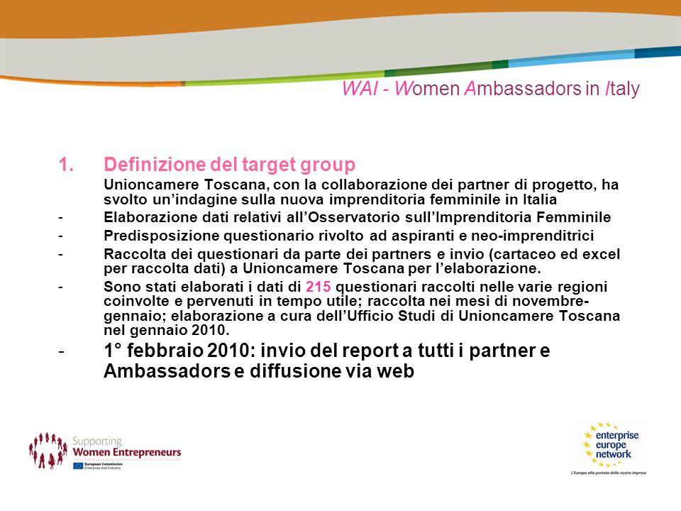 WAI - Women Ambassadors in Italy 1.Definizione del target group Unioncamere Toscana, con la collaborazione dei partner di progetto, ha svolto unindagi