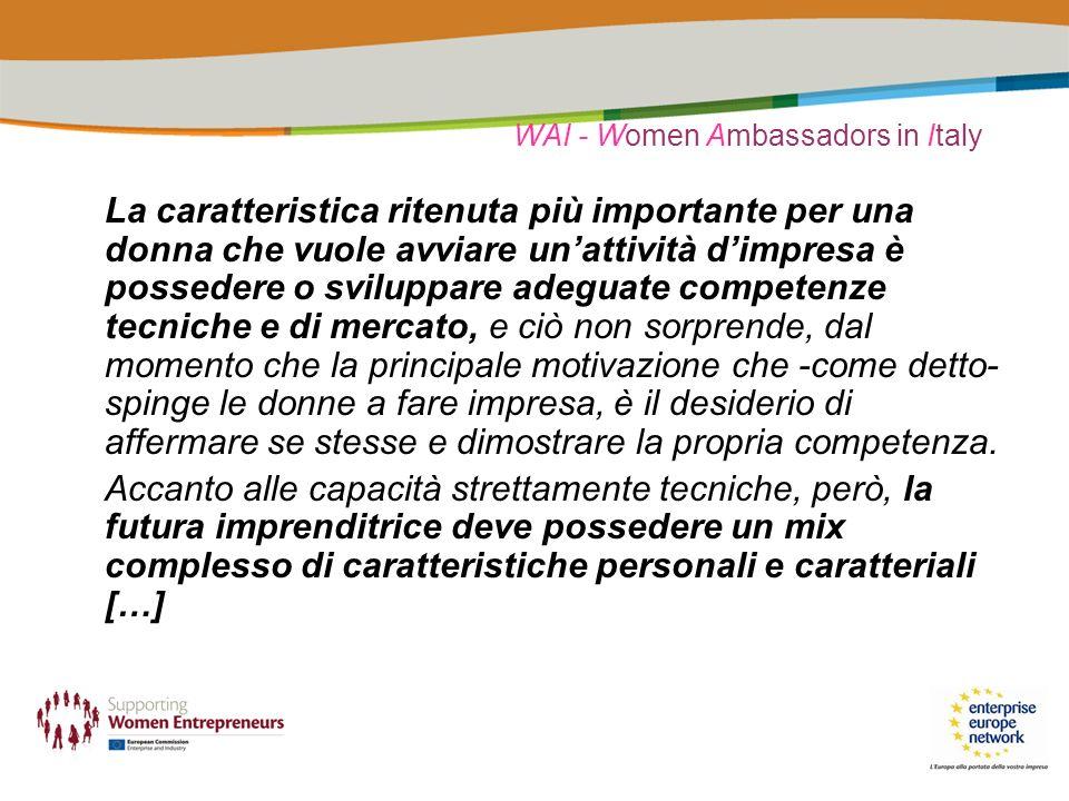 WAI - Women Ambassadors in Italy La caratteristica ritenuta più importante per una donna che vuole avviare unattività dimpresa è possedere o sviluppar