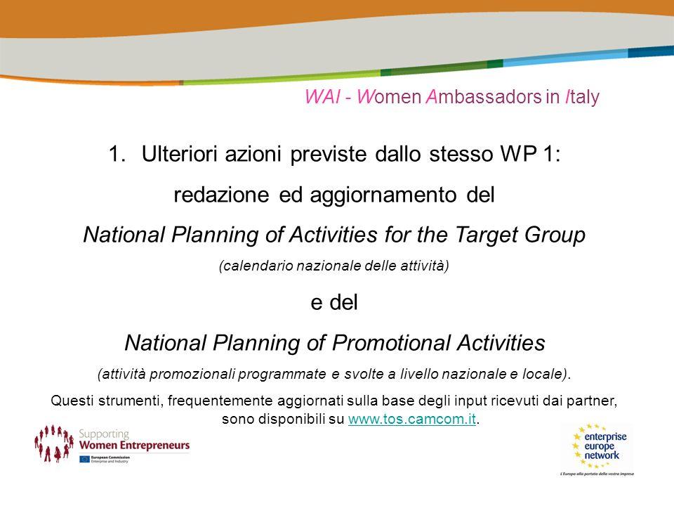 WAI - Women Ambassadors in Italy 1.Ulteriori azioni previste dallo stesso WP 1: redazione ed aggiornamento del National Planning of Activities for the