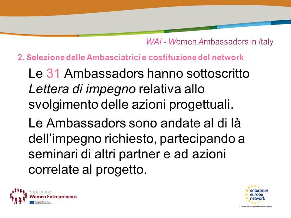 WAI - Women Ambassadors in Italy 2. Selezione delle Ambasciatrici e costituzione del network Le 31 Ambassadors hanno sottoscritto Lettera di impegno r