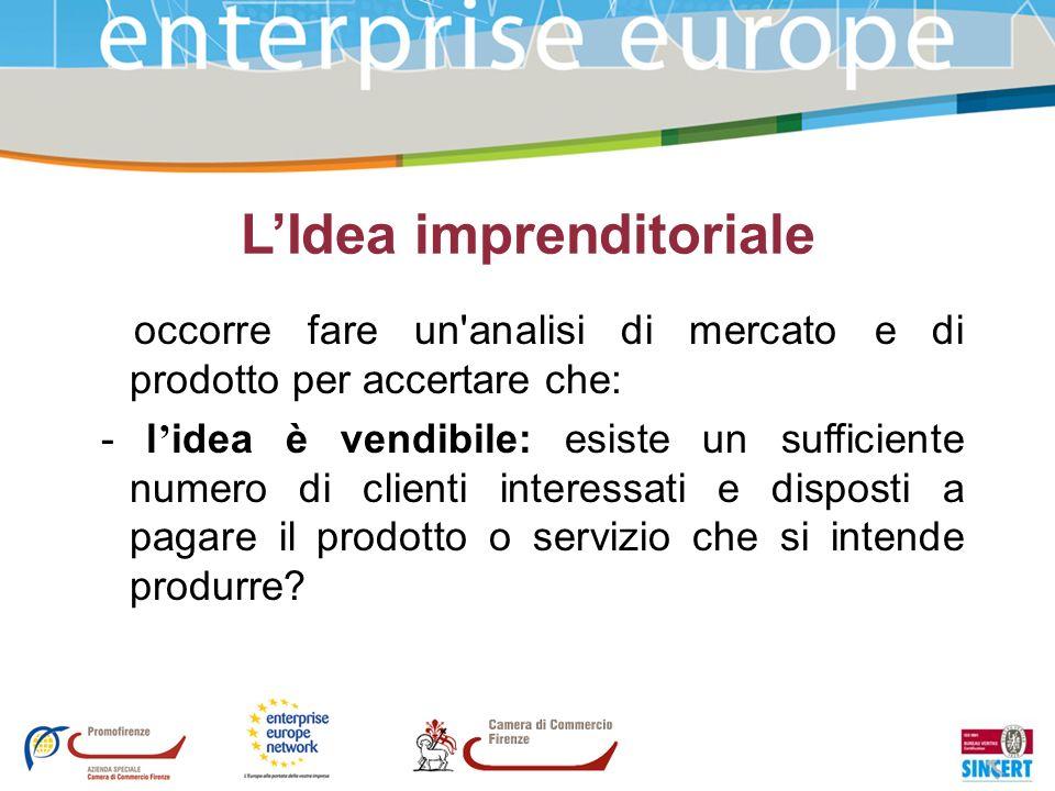 LIdea imprenditoriale occorre fare un'analisi di mercato e di prodotto per accertare che: - l idea è vendibile: esiste un sufficiente numero di client