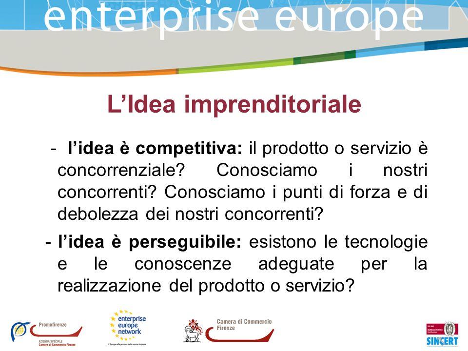 LIdea imprenditoriale - lidea è competitiva: il prodotto o servizio è concorrenziale? Conosciamo i nostri concorrenti? Conosciamo i punti di forza e d