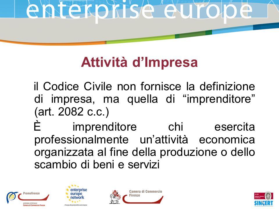 Attività dImpresa il Codice Civile non fornisce la definizione di impresa, ma quella di imprenditore (art. 2082 c.c.) È imprenditore chi esercita prof