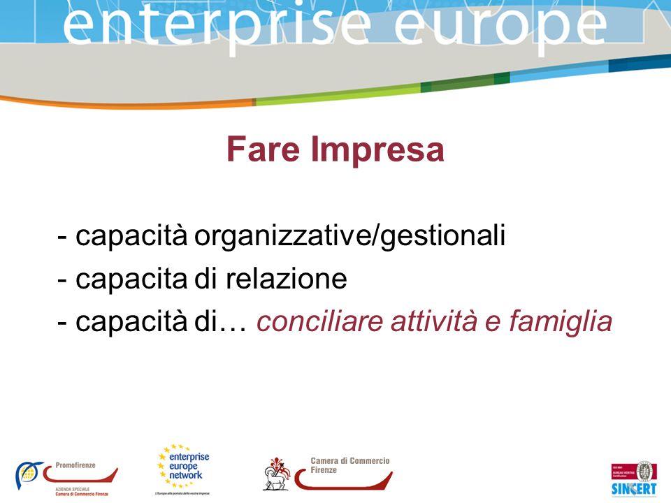 Fare Impresa - capacità organizzative/gestionali - capacita di relazione - capacità di… conciliare attività e famiglia