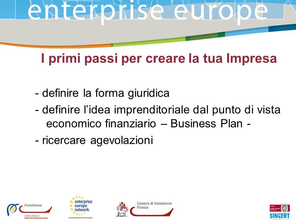 I primi passi per creare la tua Impresa - definire la forma giuridica - definire lidea imprenditoriale dal punto di vista economico finanziario – Busi