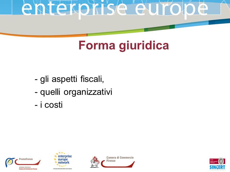 Forma giuridica - gli aspetti fiscali, - quelli organizzativi - i costi