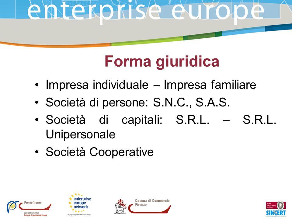 Forma giuridica Impresa individuale – Impresa familiare Società di persone: S.N.C., S.A.S. Società di capitali: S.R.L. – S.R.L. Unipersonale Società C