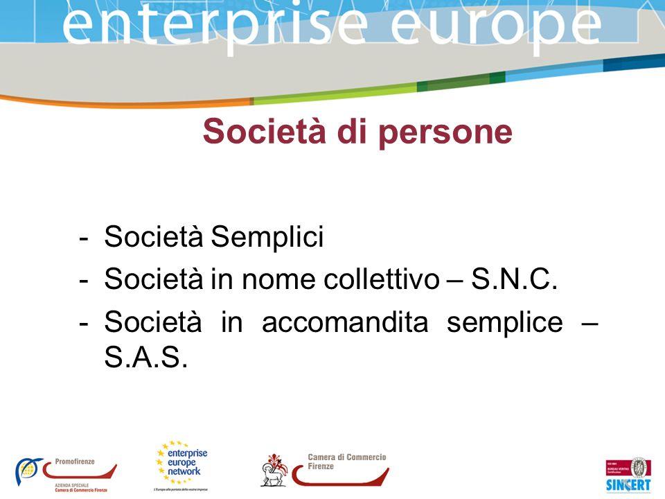 Società di persone -Società Semplici -Società in nome collettivo – S.N.C. -Società in accomandita semplice – S.A.S.
