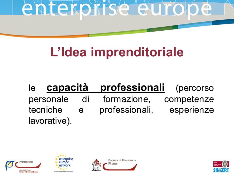 LIdea imprenditoriale le capacità professionali (percorso personale di formazione, competenze tecniche e professionali, esperienze lavorative).