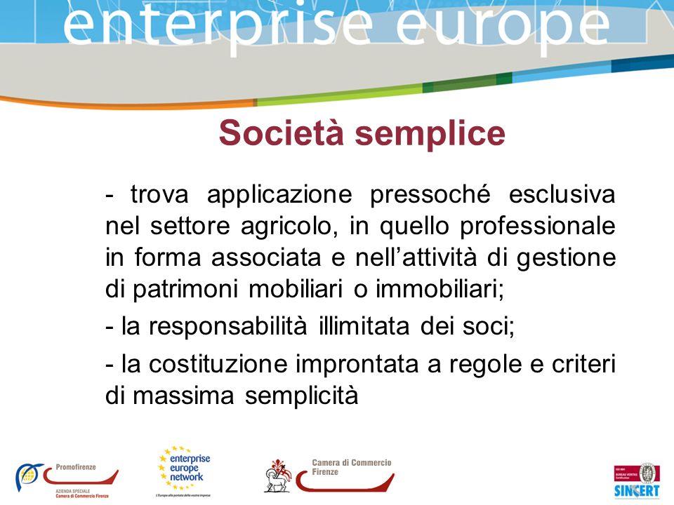 Società semplice - trova applicazione pressoché esclusiva nel settore agricolo, in quello professionale in forma associata e nellattività di gestione