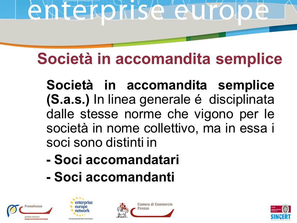 Società in accomandita semplice Società in accomandita semplice (S.a.s.) In linea generale é disciplinata dalle stesse norme che vigono per le società