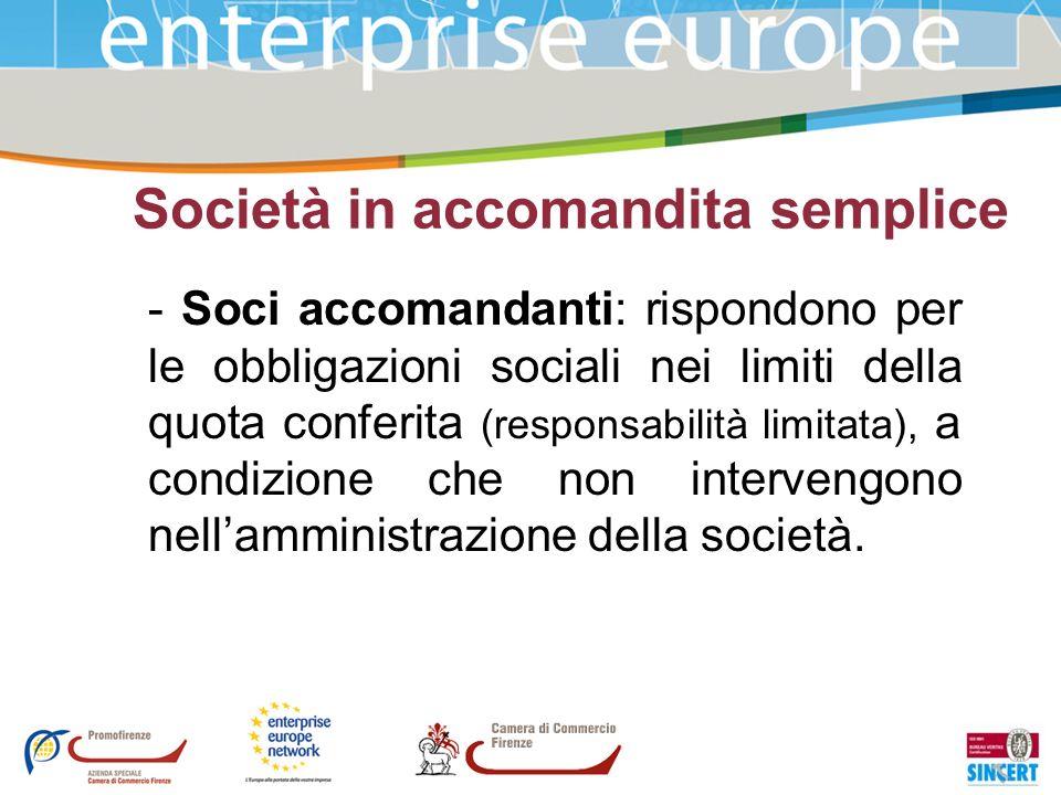 Società in accomandita semplice - Soci accomandanti: rispondono per le obbligazioni sociali nei limiti della quota conferita (responsabilità limitata)