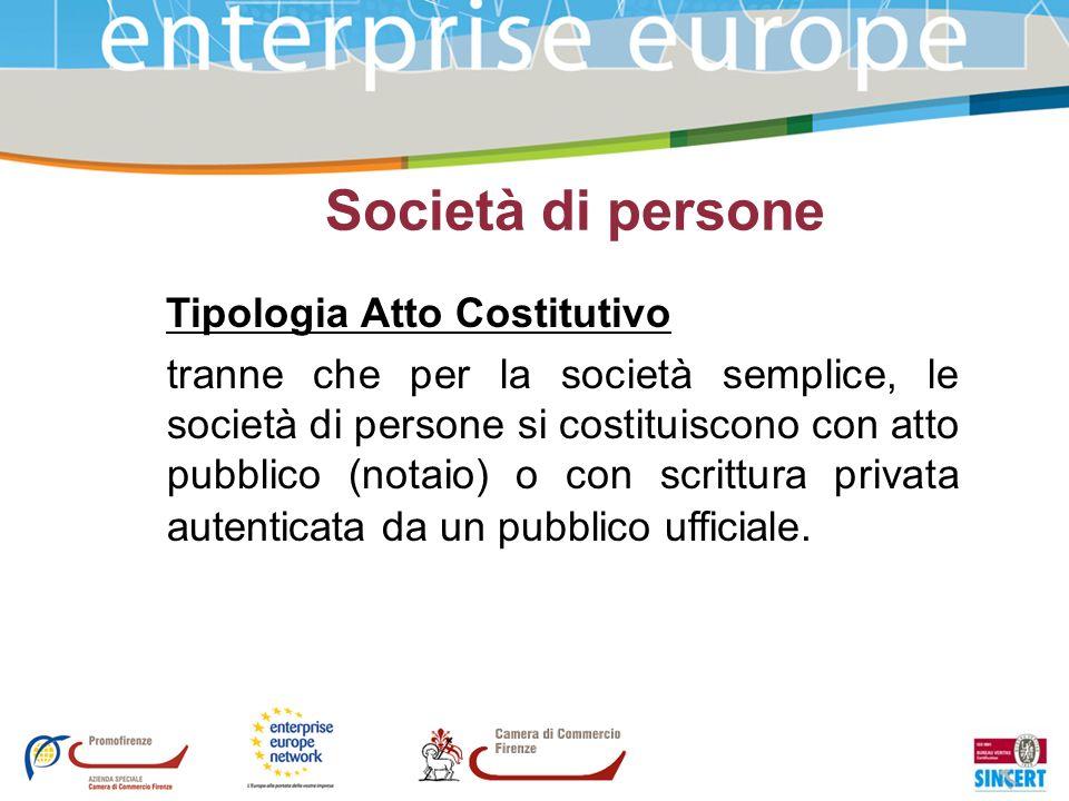 Società di persone Tipologia Atto Costitutivo tranne che per la società semplice, le società di persone si costituiscono con atto pubblico (notaio) o