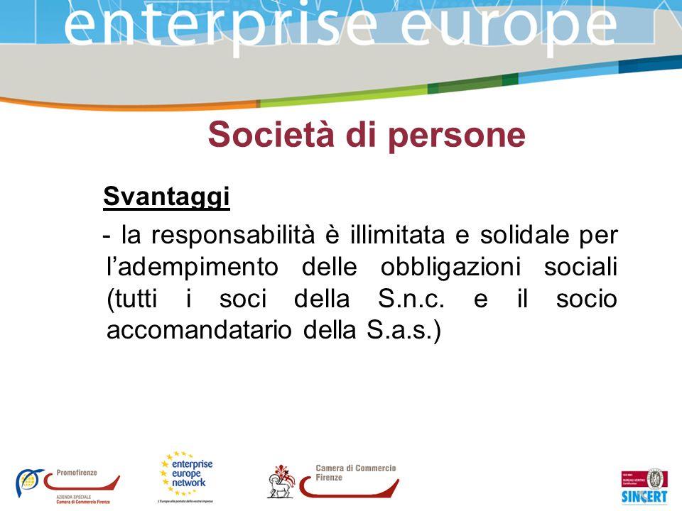 Società di persone Svantaggi - la responsabilità è illimitata e solidale per ladempimento delle obbligazioni sociali (tutti i soci della S.n.c. e il s
