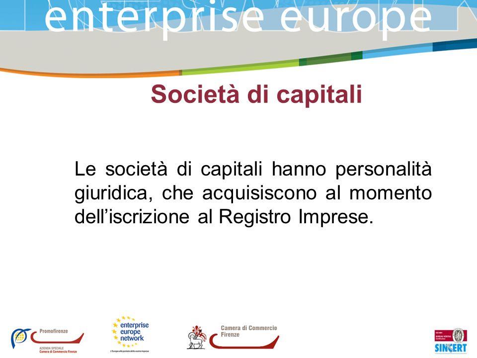 Società di capitali Le società di capitali hanno personalità giuridica, che acquisiscono al momento delliscrizione al Registro Imprese.