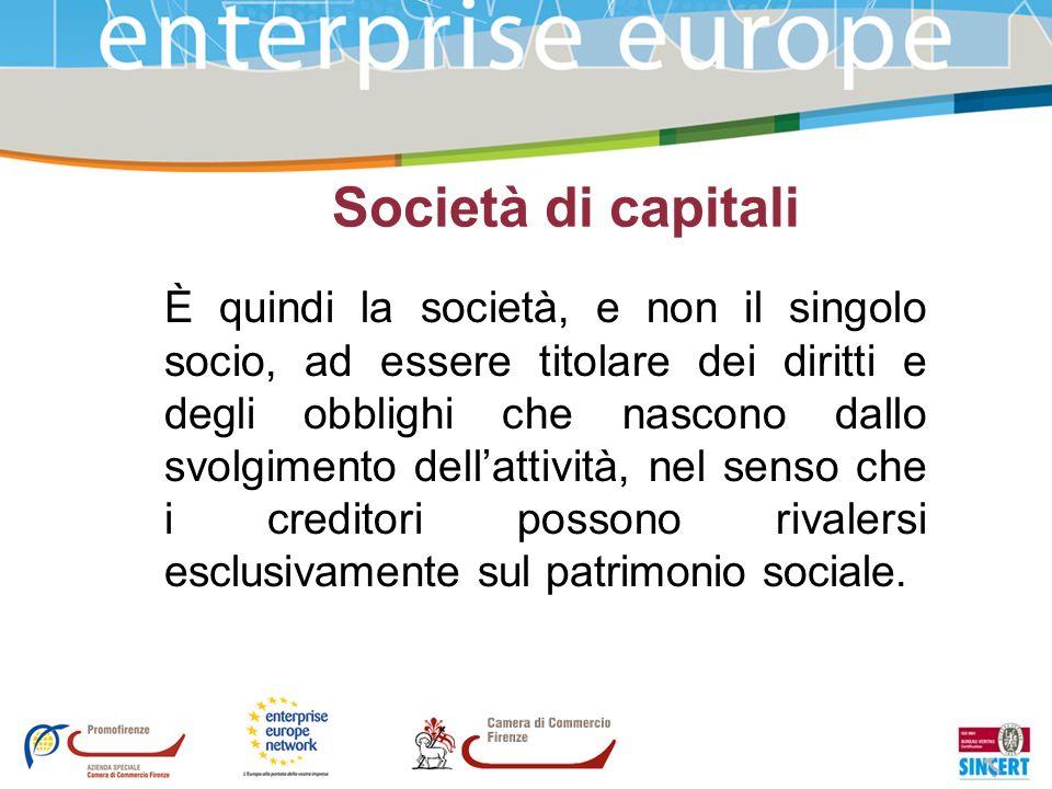 Società di capitali È quindi la società, e non il singolo socio, ad essere titolare dei diritti e degli obblighi che nascono dallo svolgimento dellatt