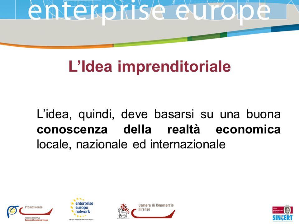 LIdea imprenditoriale Lidea, quindi, deve basarsi su una buona conoscenza della realtà economica locale, nazionale ed internazionale