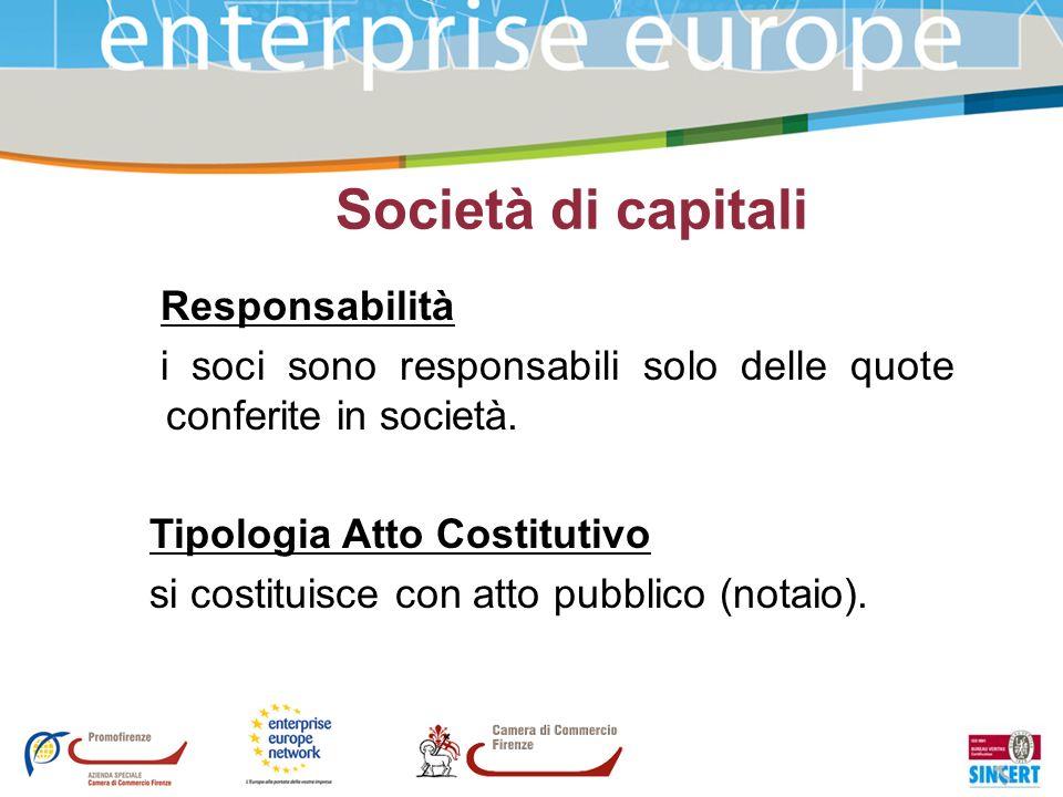 Società di capitali Responsabilità i soci sono responsabili solo delle quote conferite in società. Tipologia Atto Costitutivo si costituisce con atto