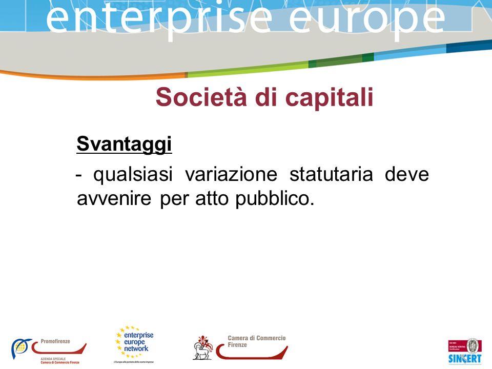 Società di capitali Svantaggi - qualsiasi variazione statutaria deve avvenire per atto pubblico.