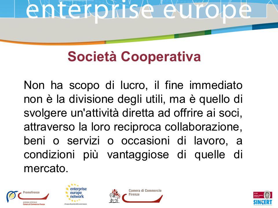 Società Cooperativa Non ha scopo di lucro, il fine immediato non è la divisione degli utili, ma è quello di svolgere un'attività diretta ad offrire ai