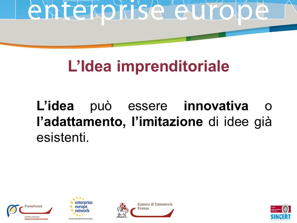 LIdea imprenditoriale Lidea può essere innovativa o ladattamento, limitazione di idee già esistenti.