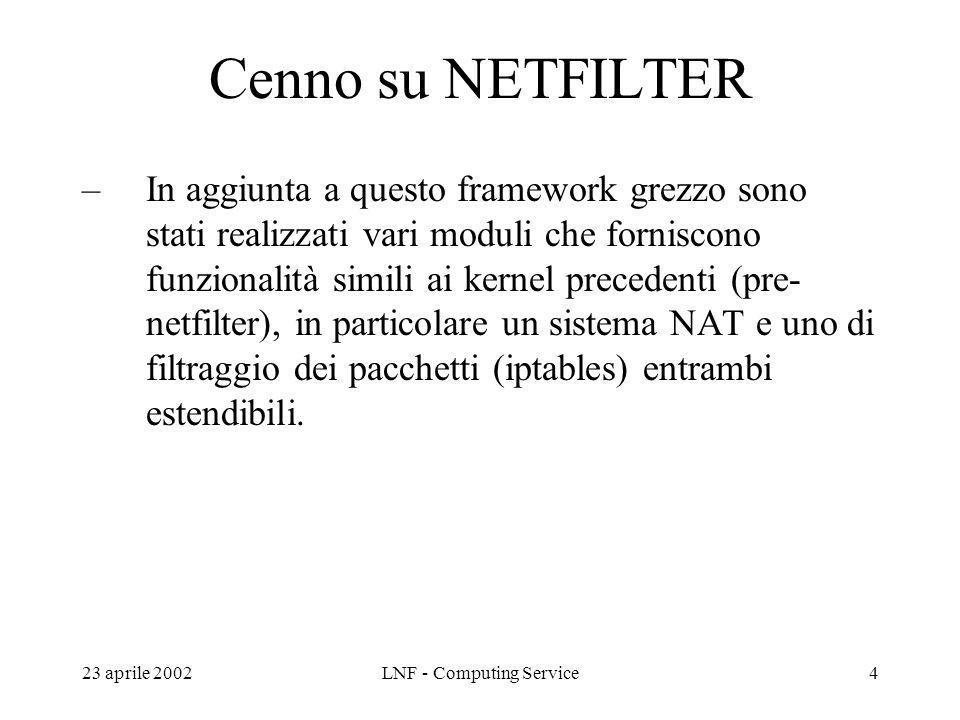23 aprile 2002LNF - Computing Service15 Domande ? Riferimenti: –http://www.iptables.org/