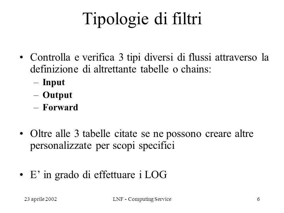 23 aprile 2002LNF - Computing Service6 Tipologie di filtri Controlla e verifica 3 tipi diversi di flussi attraverso la definizione di altrettante tabelle o chains: –Input –Output –Forward Oltre alle 3 tabelle citate se ne possono creare altre personalizzate per scopi specifici E in grado di effettuare i LOG