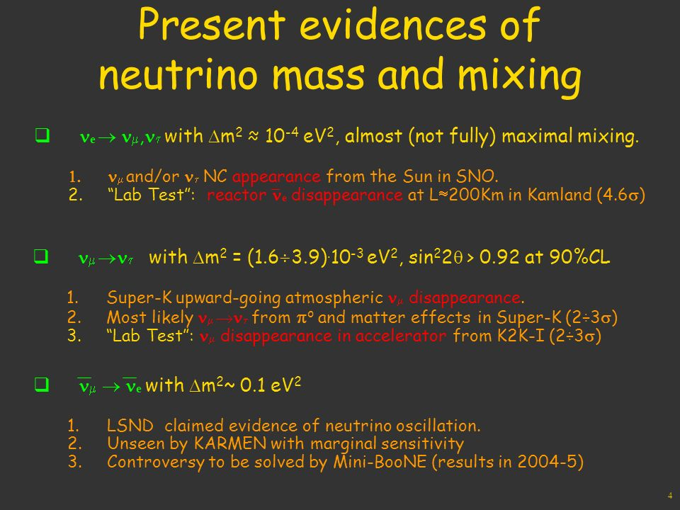 4 Present evidences of neutrino mass and mixing e, with m eV 2, almost (not fully) maximal mixing.