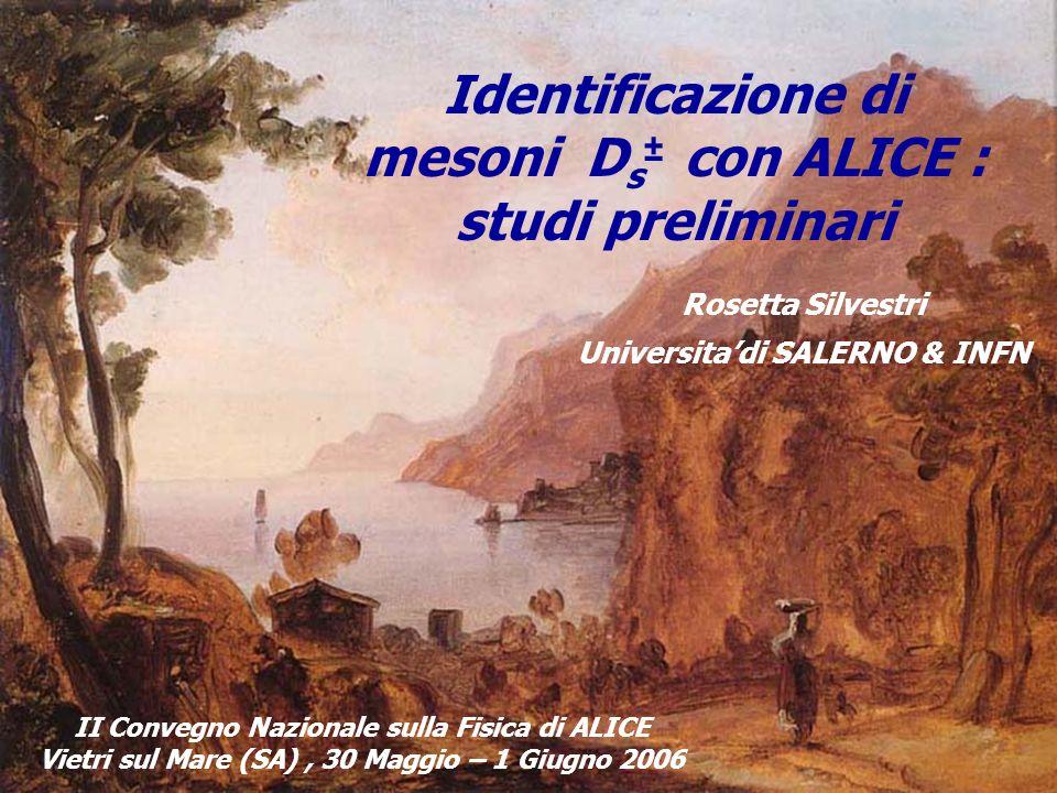 Identificazione di mesoni D s ± con ALICE : studi preliminari Rosetta Silvestri Universitadi SALERNO & INFN II Convegno Nazionale sulla Fisica di ALICE Vietri sul Mare (SA), 30 Maggio – 1 Giugno 2006