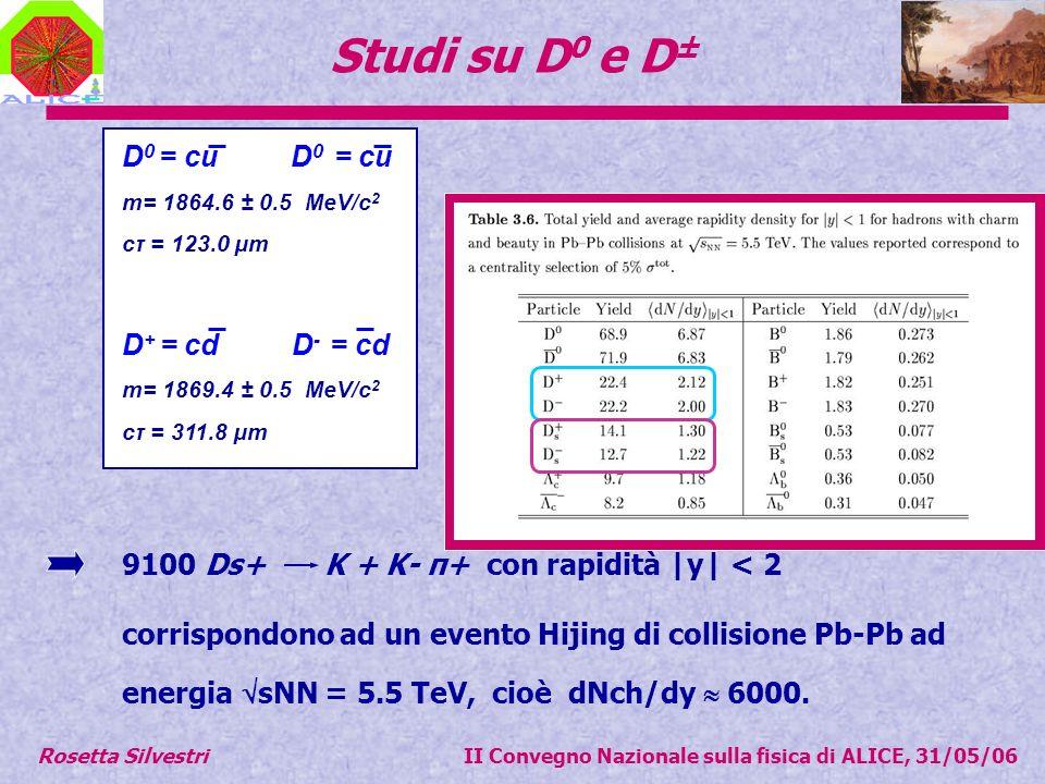 Studi su D 0 e D ± D 0 = cu m= 1864.6 ± 0.5 MeV/c 2 cτ = 123.0 µm D + = cd D - = cd m= 1869.4 ± 0.5 MeV/c 2 cτ = 311.8 µm 9100 Ds+ K + K- π+ con rapidità |y| < 2 corrispondono ad un evento Hijing di collisione Pb-Pb ad energia sNN = 5.5 TeV, cioè dNch/dy 6000.
