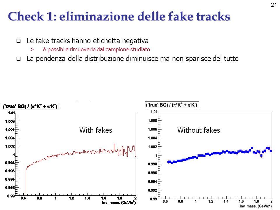 21 Check 1: eliminazione delle fake tracks Le fake tracks hanno etichetta negativa >è possibile rimuoverle dal campione studiato La pendenza della distribuzione diminuisce ma non sparisce del tutto Without fakesWith fakes