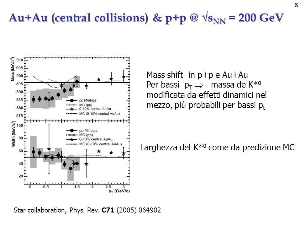 7 (K* 0 +a.p.) m T spectra @ s NN =200 GeV p t di risonanze e particelle @ s NN =200 GeV I K* di alto p t sfuggono più facilmente dalla fireball Produzione di risonanze di alta massa in collisioni pp particolarmente violente Le risonanze si disaccoppiano dalla fireball prima delle particelle stabili.