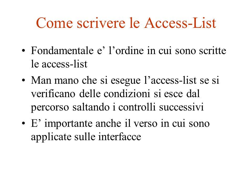 Come scrivere le Access-List Fondamentale e lordine in cui sono scritte le access-list Man mano che si esegue laccess-list se si verificano delle cond
