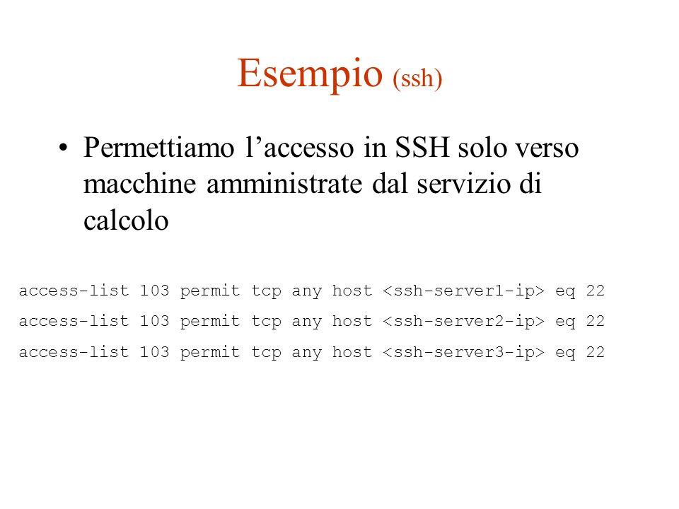 Esempio (ssh) Permettiamo laccesso in SSH solo verso macchine amministrate dal servizio di calcolo access-list 103 permit tcp any host eq 22